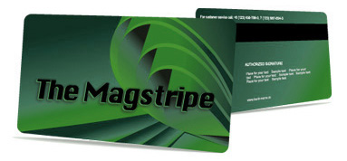 Magnetic stripe on back of plastic card image
