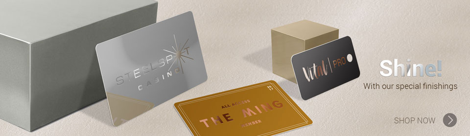 Shine! with our special finishes. Spot UV, Metallic ink, Foil stamping, Pearlescent finish and more
